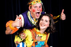 Breaking with tradition - Harrogate Theatre panto stars Tim Stedman as Simon Trott and Harriett Hare as Jack in the new production of Jack and the Beanstalk.