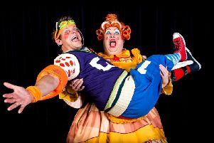 Tonic for hospital patients - Two of the stars of Harrogate Theatre's magical family panto, Jack and the Beanstalk, Tim Stedman and Howard Chadwick.