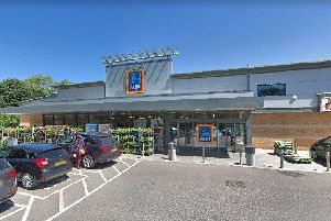 The woman was hit by a car outside Aldi in Harrogate. Picture: Google
