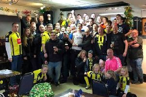 Civilised approach - Harrogate Town and Fylde AFC fans at the social event last Saturday.