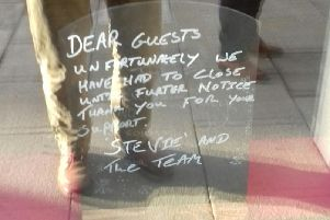 The handwritten sign on the door of the cafe at the Harrogate restaurant/retail complex at the former Beales department store.