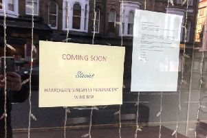 The new sign on the door of former Italian wine cafe Veeno in Harrogate.