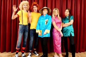 A Lad In Pannal - Pannal Players cast members playing Wishee, Washee, Aladdin, Princess Joanne and Sue Shi.
