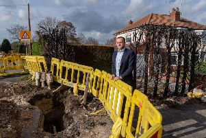 Date:18th February 2019.'Picture James Hardisty.'Councillor Ryan Stephenson near scene of fire at the junction of Keswick Lane and The Drive in Bardsey, Leeds, where a gas mains caught alight on Saturday evening destroying a hedge to a nearby property.
