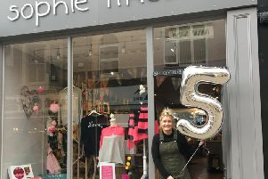 Sophie Hartley of the Sophie Likes shop in which is celebrating its fifth birthday in Harrogate.