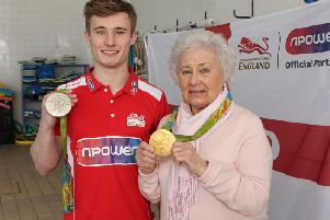 Pictured: Sylvia Grice with Jack Laugher.