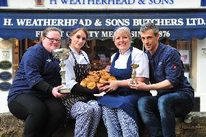 Pictured is the winning team with award-winning pies and championship trophies: from left Leah Booker, Nicki Gerrard, Rebecca Chandler and Gavin Chandler. Picture: Gerard Binks.