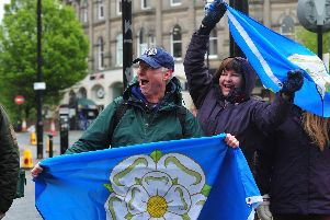 Pride of Yorkshire - Cycling fans at Parliament Street in Harrogate today.