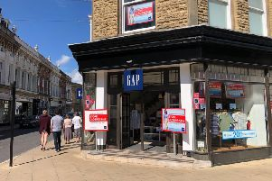 'Closure' signs - Gap men and women's clothes store in James Street in Harrogate,