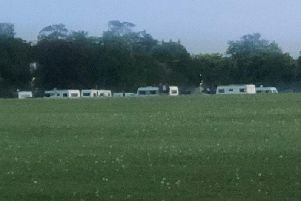 The caravan 'camp' which suddenly appeared at the Stray in Harrogate over the weekend.