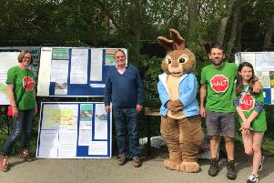 Lord Kirkhope of Harrogate, second from left, at the recent 'sustainable transport' protest walk at Bilton organised by Andrew Jones MP. Also pictured are members of local anti-relief road campaigners HALT.