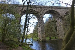 Protest walk by The Woodland Trust - Nidd Gorge viaduct between Harrogate and Knaresborough.