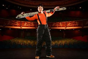 Hilarious - Harrogate Theatre Rep Company actor Oliver Mellor playing Tony in John Godber's  On The Piste.
