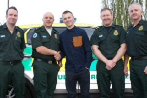 Ryan Zon with the medics who helped save his life.'L-R Chris Parker, Steve Lindley, Barry Disley and Paul Feeney