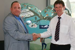 Dale Robinson, head of sales, marketing PR at The Source, left, with Richard Finney, marketing, communications and charity officer at Sheffield & Hallamshire County FA.