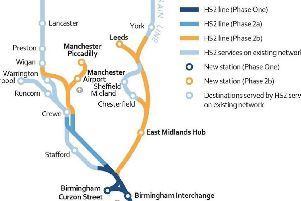 The HS2 route in South Yorkshire and beyond.