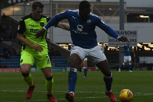 Picture Andrew Roe/AHPIX LTD, Football, EFL Sky Bet League Two, Chesterfield FC v Exeter City, Proact Stadium, 18/11/17, K.O 3pm''Chesterfield's Jerome Binnom-Williams fends off Exeter's Pierce Sweeney''Andrew Roe>>>>>>>07826527594