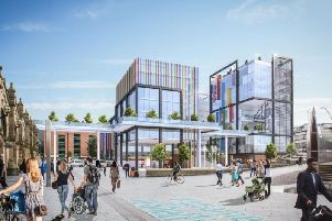 An artist's impression of the Channel 4 building in Sheaf Square outside Sheffield train station