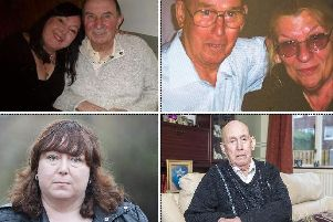 Happier times: Joanne Stephenson with her dad Anthony and Alf Rhodes with wife Hazel. Today, both Joanne and Alf (bottom row) are fighting to keep their loved ones in Birch Avenue after NHS bosses said funding to care for dementia sufferers Anthony and Hazel was being pulled. Both could be evicted and moved to another care home.