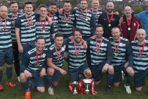 Crookes FC with the Division Two champions trophy