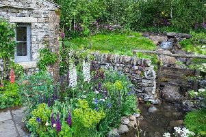 The garden is themed around the drystone buildings of the Dales