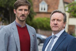 Neil Dudgeon (right) as DCI John Barnaby and Gwilym Lee as DS Charlie Nelson in Midsomer Murders