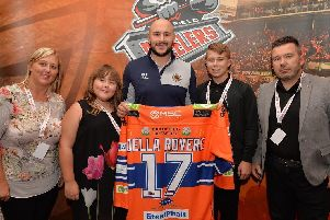 Stefan Della Rovere and some of his new Steeler fans