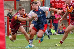 Sheffield Eagles' Matty Fozard in action against Batley. Picture: Alex Coleman