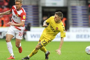 James Coppinger in action against Fleetwood Town