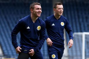 Scotland's John Fleck (left) and Callum McGregor during training: Jane Barlow/PA Wire. EDITORIAL USE ONLY