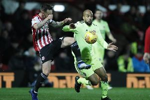 David McGoldrick of Sheffield United in action during the 3-2 win at Brentford