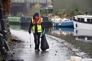 Friends of the Blue Loop clearing rubbish beside the Tinsley Canal
