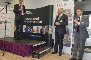 Advanced Wellbeing Research Centre launch held at UTC Sheffield Olympic Legacy Park'Prof Steve Haake speaks at the opening with Sir Malcolm Grant (Chair NHS England) and Prof Chris Husbands (VC Sheffield Hallam Uni)
