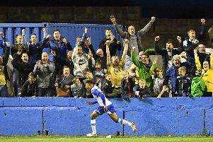 Tyler Smith celebrates scoring for Barrow during his loan at the National League club earlier this season