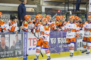 Steelers' Anthony DeLuca celebrates a hat-trick after 21 minutes at Manchester