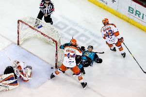Belfast Giants' Dustin Johner with Sheffield Steelers' Jackson Whistle during Saturday nights Elite Ice Hockey League game at the SSE Arena, Belfast.