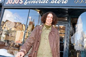 Jojo Elgarice, pictured outside his vintage menswear shop on Ecclesall Road, Sheffield. Picture: Marie Caley.