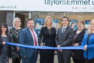 Taylor&Emmets new Rotherham office is opened by Michaela Heathcote and Neil Riley (fourth and fifth left) and colleagues who will be based in the town.