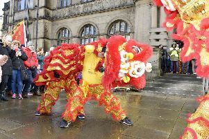 Chinese New Year celebrations outside Sheffield Town Hall. Pictures: Dean Atkins