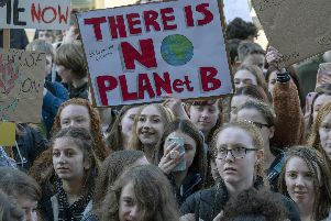 Youth Climate Strike outside Sheffield Town Hall. Picture Scott Merrylees