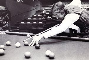 Cliff Thorburn in action at the Crucible in 1977
