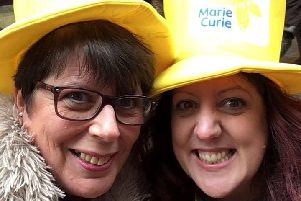 Breast cancer survivor, Karen Holloway and her daughter Gemma Hewitt are both devoted to Marie Curie Cancer Charity.