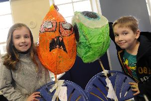 Final chance to make a lantern to take part in this years Sharrow Lanters parade at The Old Junior School,South View Road,Sharrow.Pictured making final touches are Ella nd Eric Barlow.....Pic Steve Ellis