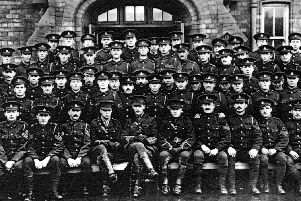 A section of the 3rd West Riding Field Ambulance Service, c. 1914 - a number of men in this photograph contributed to the Leadswinger publication (photo from Sheffield Local Studies Library)