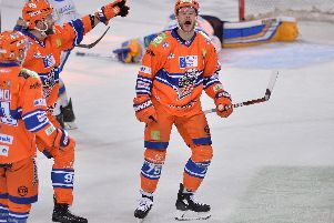 Robert Dowd celebrates his first goal in the 4-1 victory over Fife Flyers