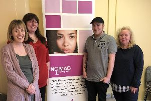 Nomad staff celebrate lottery funding (from left) CEO Fran Ferris-Ockwell, business support manager, Natalie Weeks, Jake, Nomad tenant and head of services, Karen Awdhali
