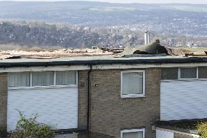 Storm damage on the flat roof of houses at Sands Close in Gleadless. Picture: Dean Atkins.