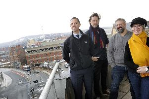 Digital Awards at Castle House, from left: David Walsh of The Star, Nick Morgan of Kollider and Chris Dymond and Mel Kanarek of Sheffield Digital. Pic Steve Ellis