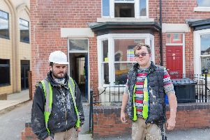 Future Builder Scott with fellow project worker Jack during a house renovation in Sheffield.