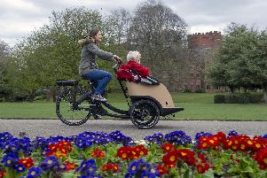 Volunteer Susan Gillie takes Margaret Rishbeth and Dianna Derbyshire for a ride at the official launch of Cycling Without Age at Weston Park.Picture Scott Merrylees